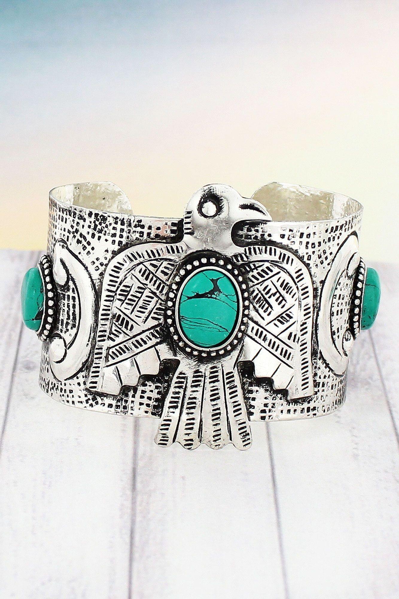 Turquoise Stone Accented Silvertone Thunderbird Cuff Bracelet #SB0010-TQ