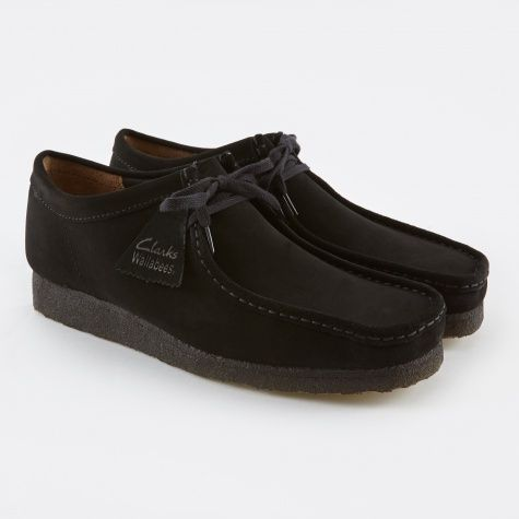 mens clarks wallabees black