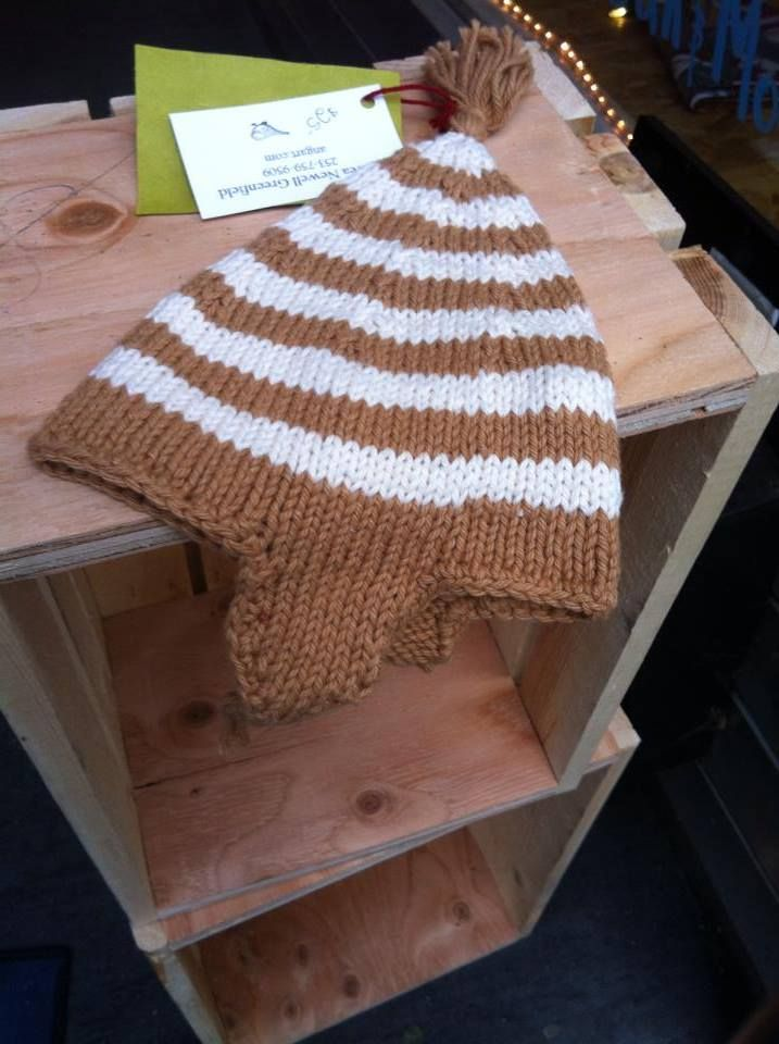 Gnome hat by Andrea Newell Greenfield! An oh-so-cute topper for the little one in your life. Made of 100% un-dyed organic cotton, it is easy care machine wash and dry. (Size approx. 6-12 months) Get this cute hat for a child you know for only $25!