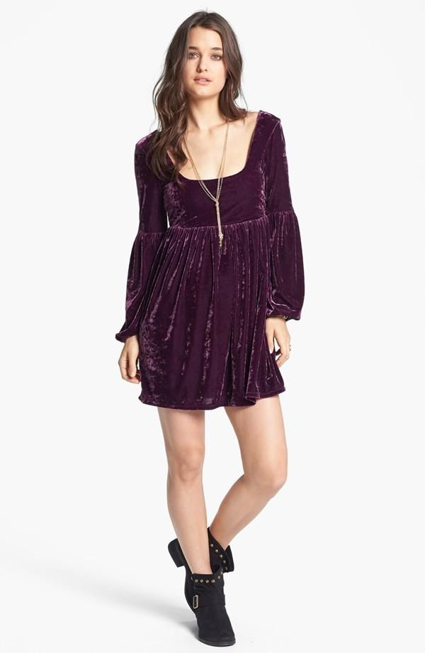 c55d56f7c42 Oh la la! Free People Purple Velvet Babydoll Dress