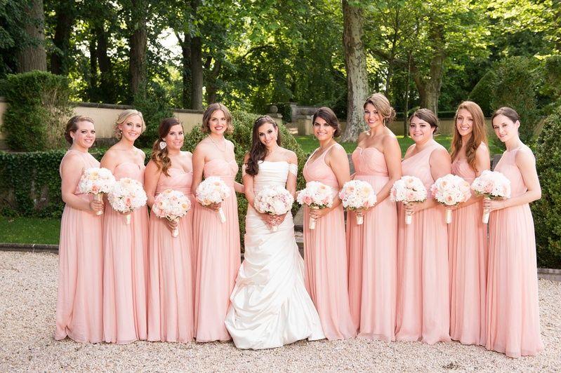 Nine Blush Bridesmaid Dresses Photography: Brett Matthews ...