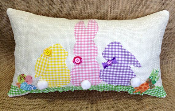 Easter bunny pillow burlap easter pillow with easter rabbit family easter bunny pillow burlap easter pillow with easter rabbit family by sherisewsweet sherisewsweet negle Image collections