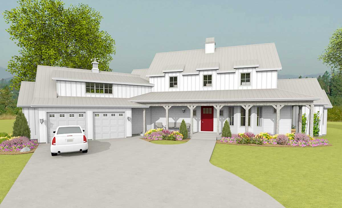 Modern Farmhouse With Angled Garage Plus Bonus Room Above   28912JJ | Architectural  Designs   House