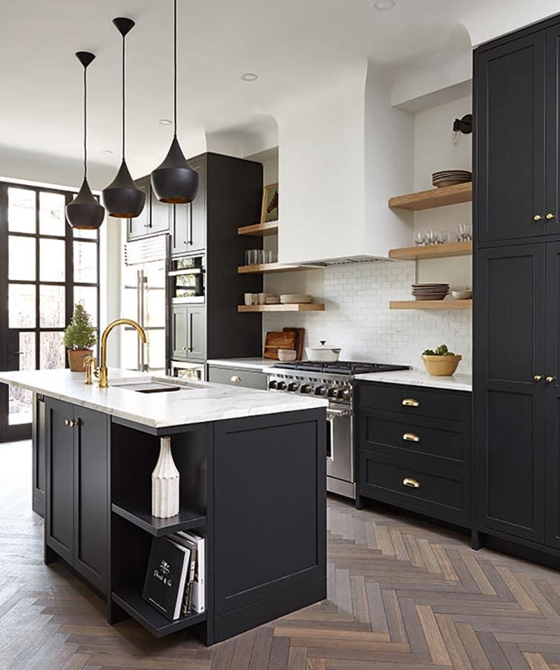 22 Beautiful Black Kitchens That Are Trending Hot The Cottage Market Kitchen Design Small Interior Design Kitchen Kitchen Style
