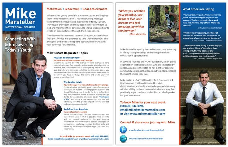 Professional Speakers-one sheet and graphic design services - one sheet template word