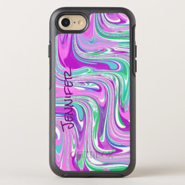 Modern Purple Swirl OtterBox Symmetry iPhone 8/7 Case #abstract #colorful #modern #bright #bold #OtterBoxSymmetryiPhone87Case