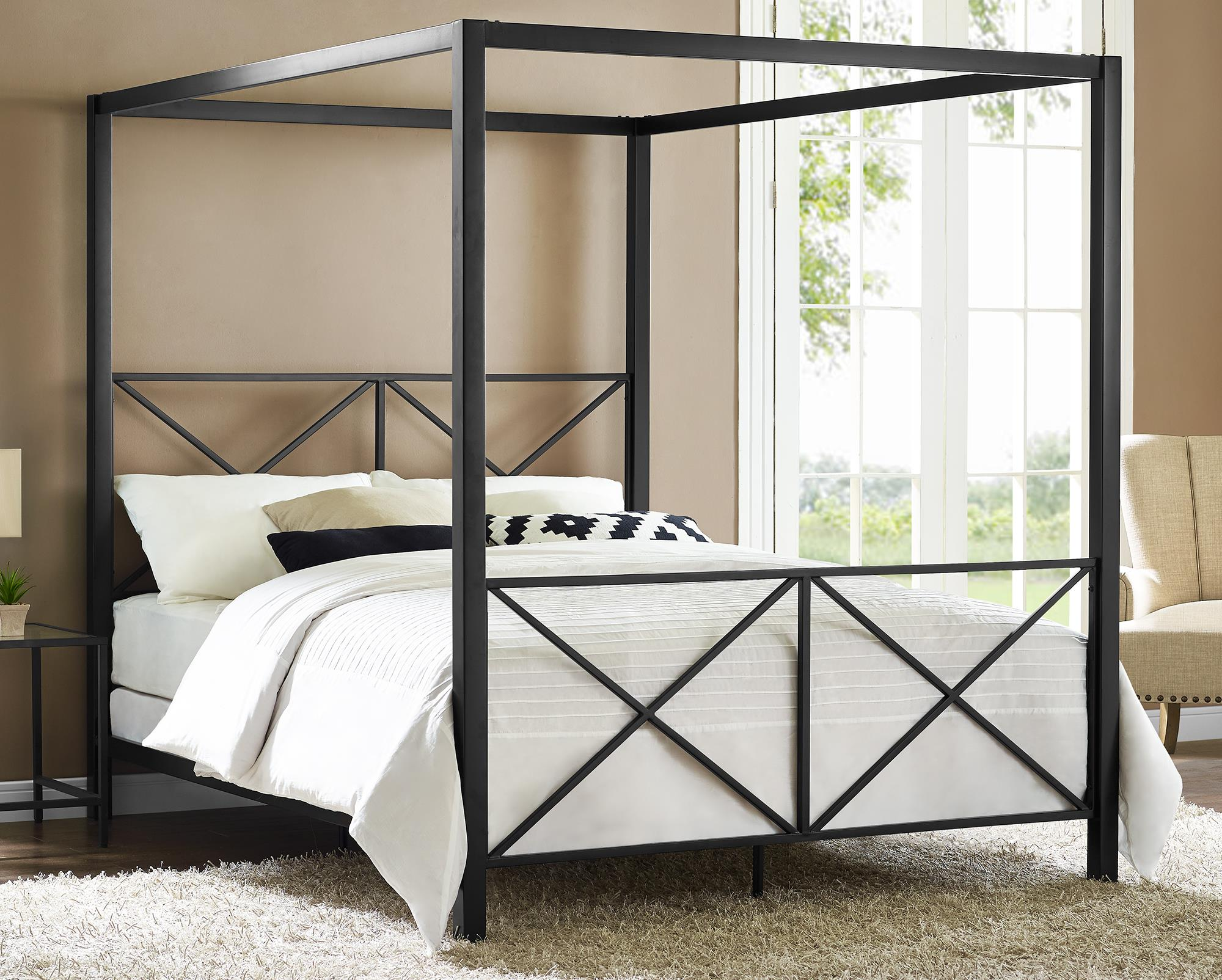 The Dhp Rosedale Metal Canopy Queen Bed Is A Sleek And Modern Bed