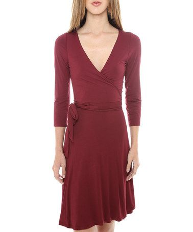 Love this Burgundy Wrap Dress by Funky Soul on #zulily! #zulilyfinds