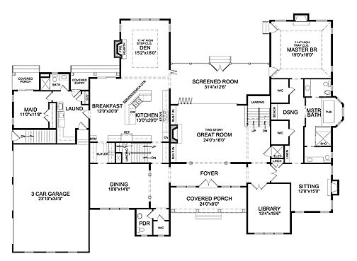 Southampton I 7023 6 Bedrooms And 6 Baths The House Designers New House Plans Ranch House Plans House Plans