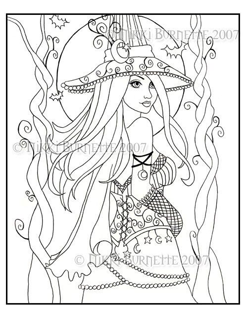 Cassia Coloring Page Kit With Aceo Print Fantasy Witch Wiccan Witch Coloring Pages Steampunk Coloring Fairy Coloring Pages