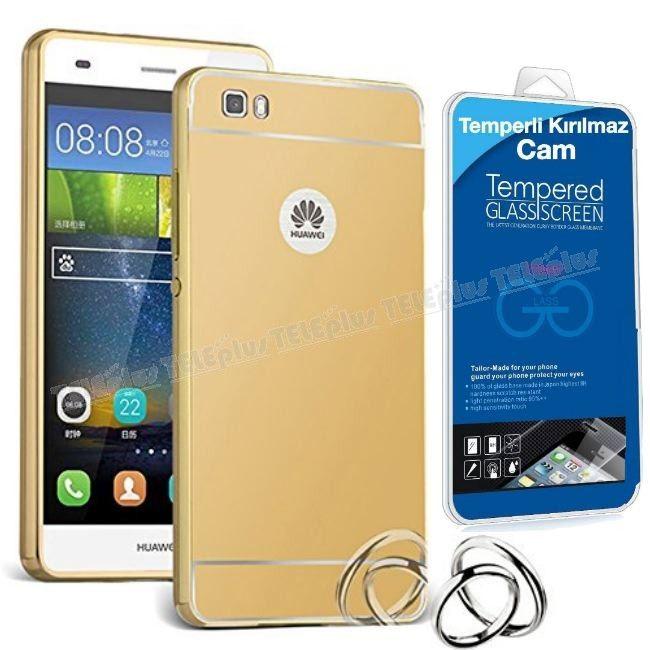 Huawei P8 Lite Aynalı Metal Kapak Kılıf Gold + Kırılmaz Cam -  - Price : TL28.90. Buy now at http://www.teleplus.com.tr/index.php/huawei-p8-lite-aynali-metal-kapak-kilif-gold-kirilmaz-cam.html