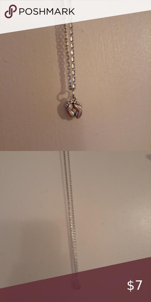 Footprints charm necklace