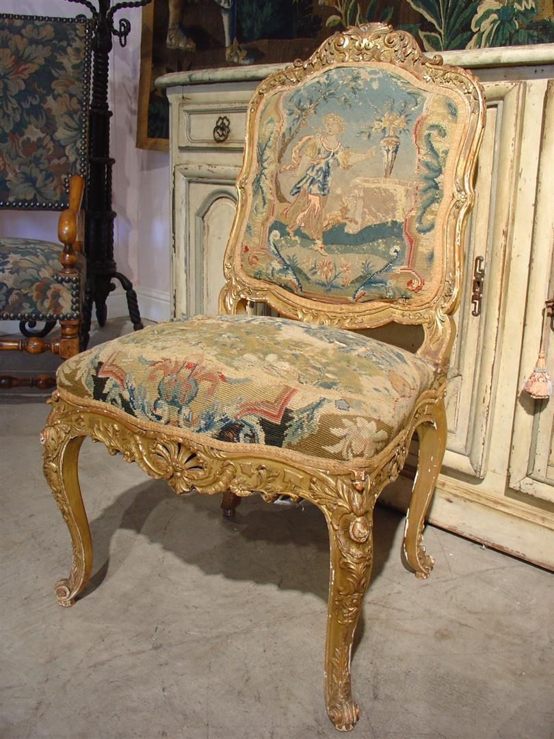 Circa 1800 French Giltwood And Tapestry