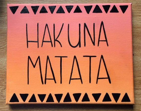 Hakuna Matata Lion King wood sign - handmade canvas or wood quote art - Disney Canvas Quote #easypaintings