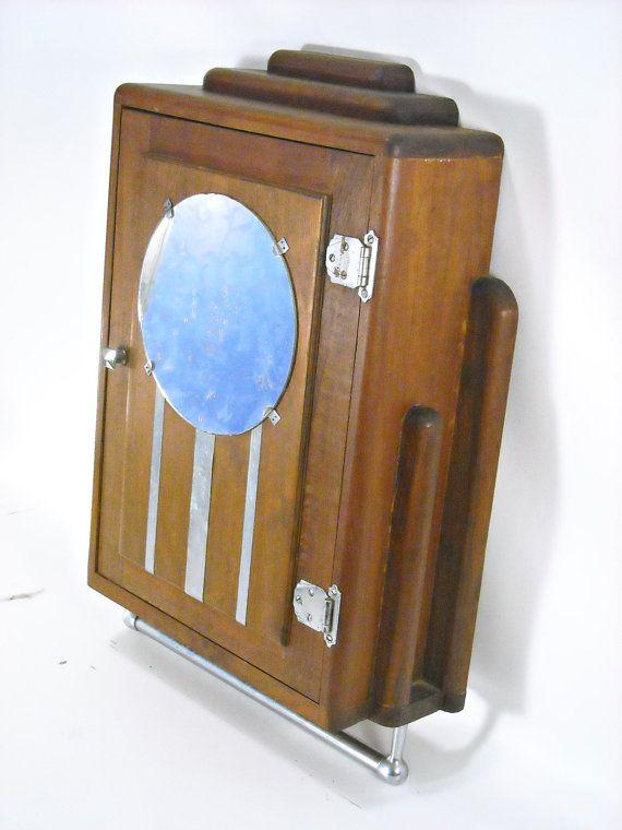 Silverbranchhome Antique Art Deco Medicine Cabinet Mahogany Chrome Mirror 1920s Wall Hung Medicine Cabinet Vintage Cabinets Cabinet