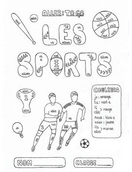 Color by conjugation French ALLER (to go) Les Sports fun