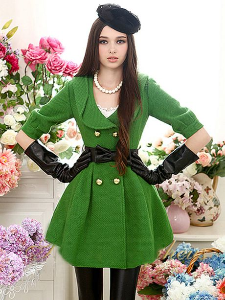 Green Pleated Overcoat