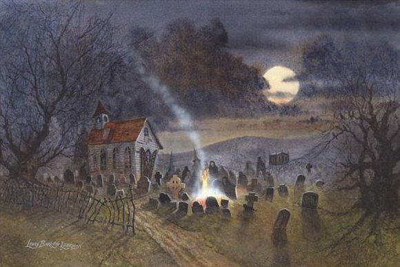 Haunted Halloween Art Prints of Lewis Barrett Lehrman - Night of ...