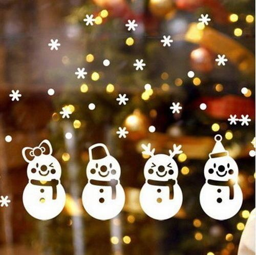 Christmas 4 cute hat snowman diy wall art stickers windows shop decal xmas in home