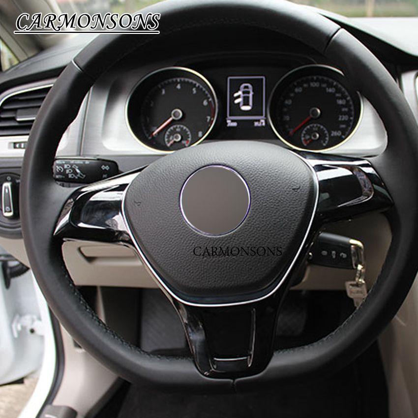 ل Volkswagen Vw جولف 7 Gti Mk7 بولو 2014 2015 جيتا Mk6 2015 المقود غطاء السيارة Abs الكروم تقليم الديكور ملصقا Volkswagen Interior Accessories Vw Volkswagen