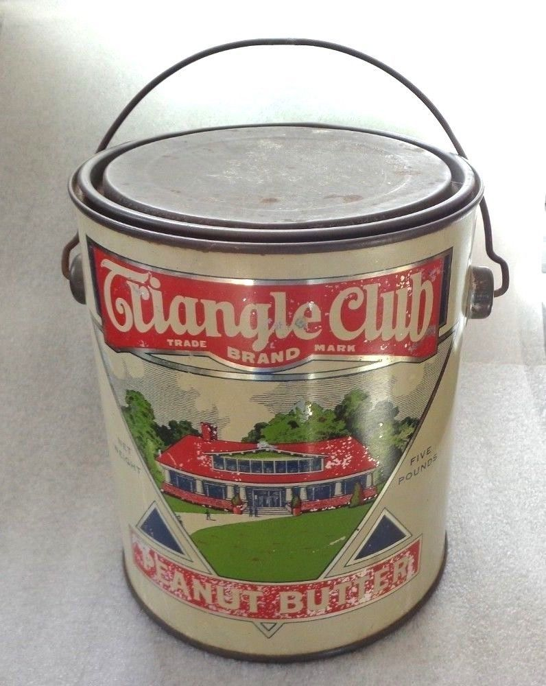 graphic old Triangle Club peanut butter tin pail .