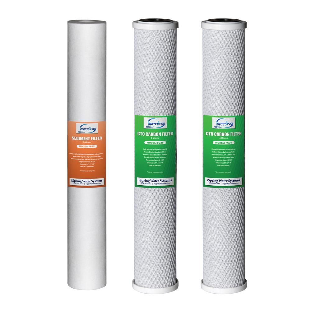 Ispring 20 In X 2 5 In Water Filter Replacement Pack For Commercial Ro Systems And Whole House Filters Water Filter Whole House Water Filter Filters