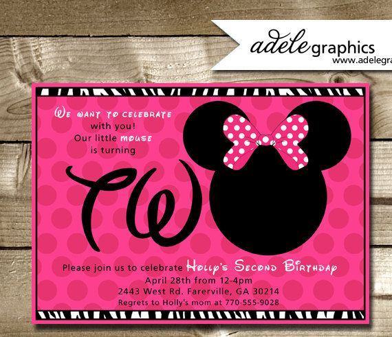 Minnie Mouse Inspired Second Birthday Party by AdeleGraphics, $12.00