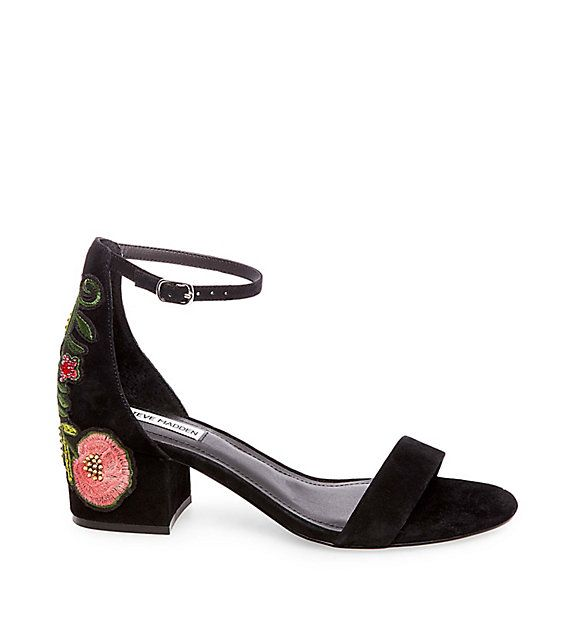 315a2795b INCA floral embroidered suede black ankle strap block heel sandal  99.95