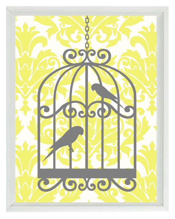 Yellow And Grey Wall Decor birds wall art print - yellow gray decor damask bird cage - modern