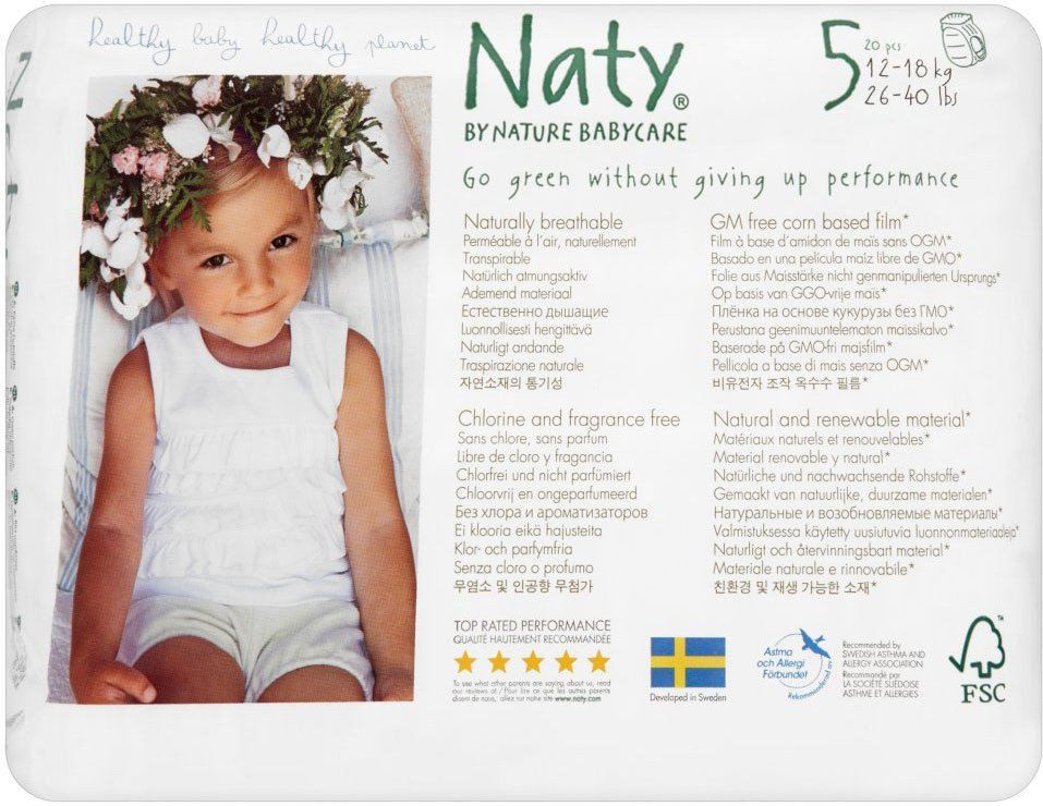 Naty By Nature Babycare Nappy Pull On Pants Size 5 Junior 12 18kg 20