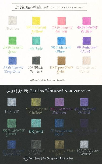 Dr Ph Martin S Iridescent Calligraphy Color Chart By Cora Pearl