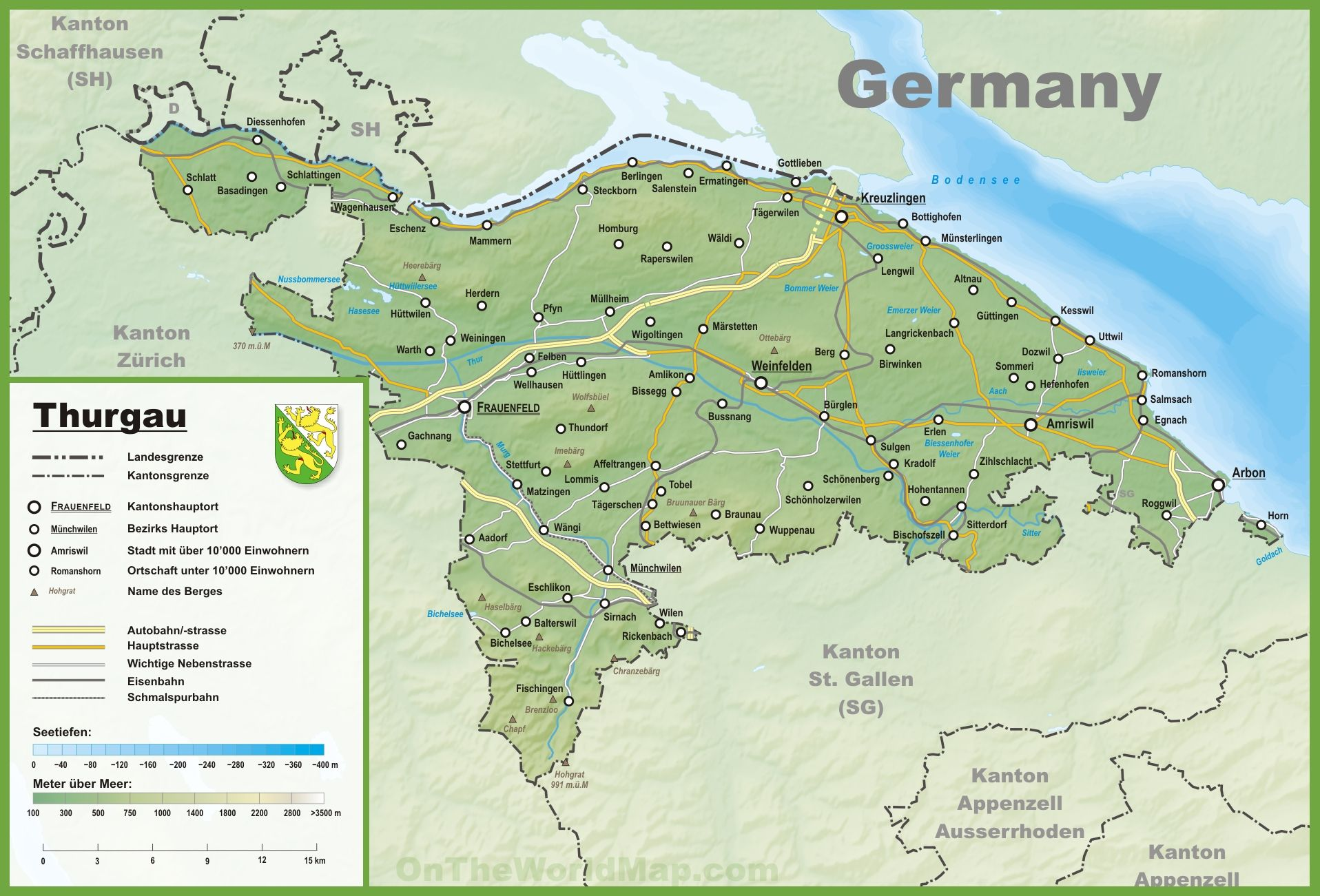 Canton of Thurgau map with cities and towns Swiss Lakes Rivers