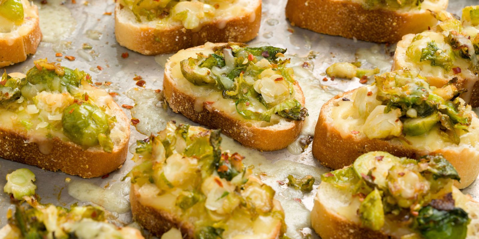 Cheesy Brussels Sprouts Mini Toasts