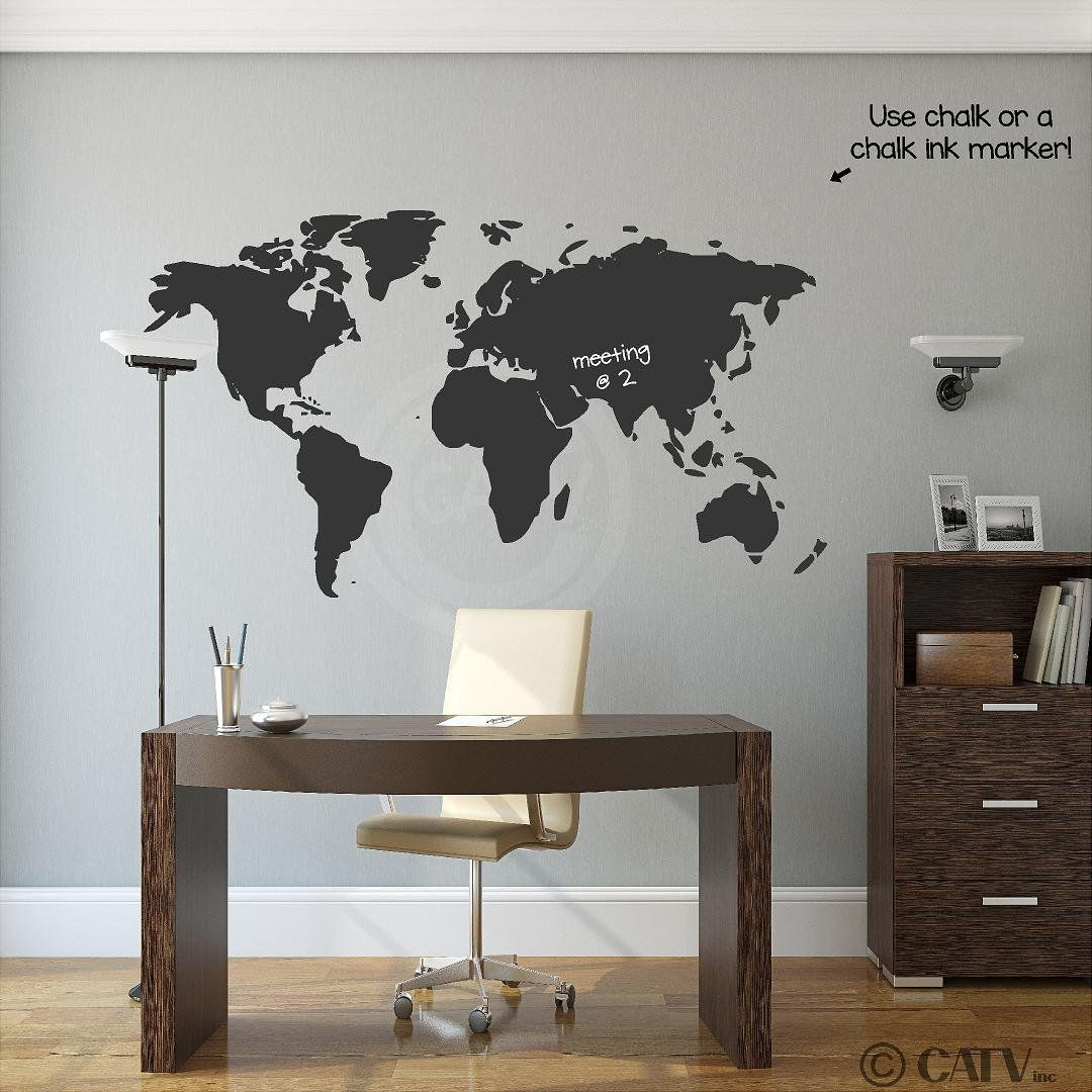 Chalkboard world map vinyl wall decal around the world girls room chalkboard world map vinyl wall decal gumiabroncs Gallery