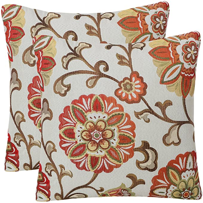 Amazon.com: YUKORE Pack of 2 Simpledecor Throw Pillow Covers Decorative Pillow Cases, 20X20 Inches, Jacquard Floral Pattern, Burnt Orange Brown Cream: Home & Kitchen