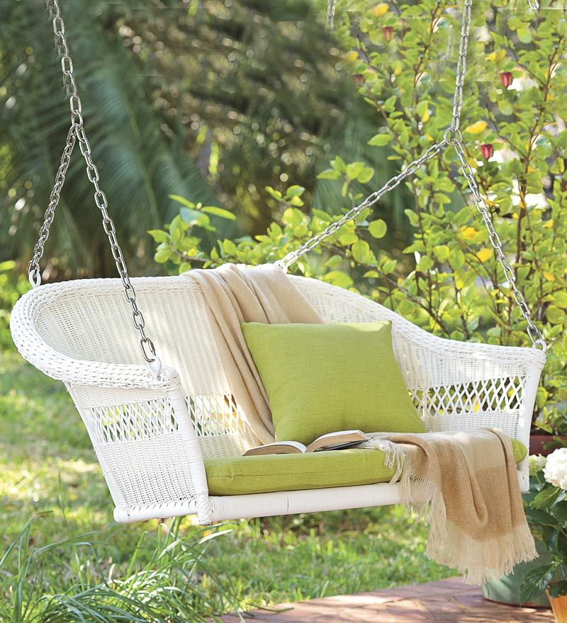 all weather resin outdoor everyday wicker swing from Plow and Hearth All Weather Resin