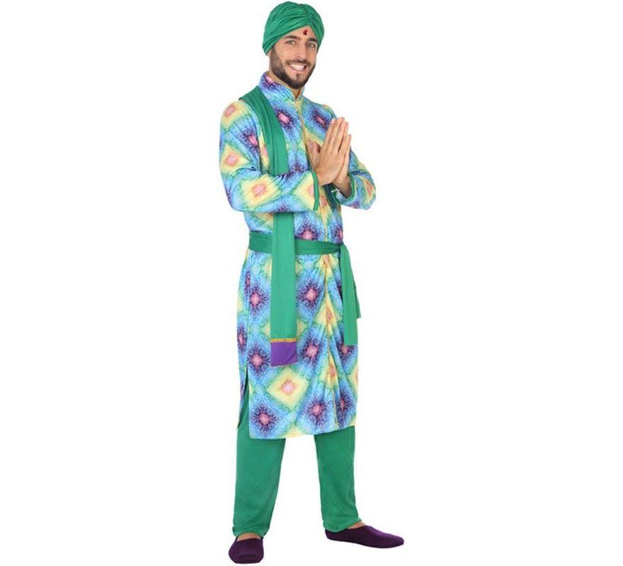 Disfraz de Bailarín Hindú Bollywood para hombre   pavo real
