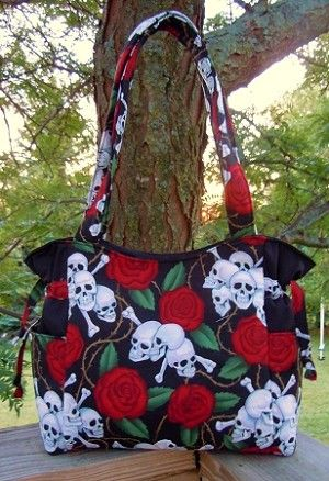 Skulls and Roses Handbag, Shoulder Bag, Tote