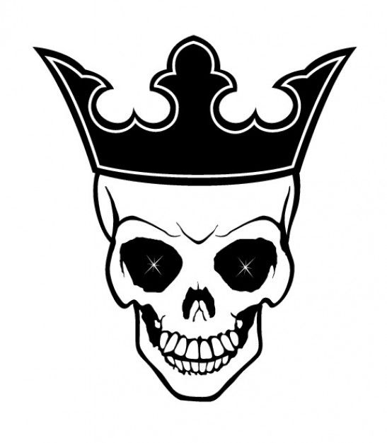 vector skull with crown- free vector for download