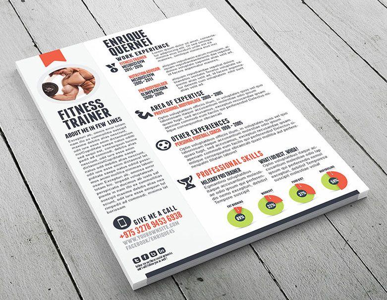 Curriculum creativo para entrenador personal cv Pinterest