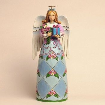 Birthday Blessings-Birthday Angel With Present Figurine