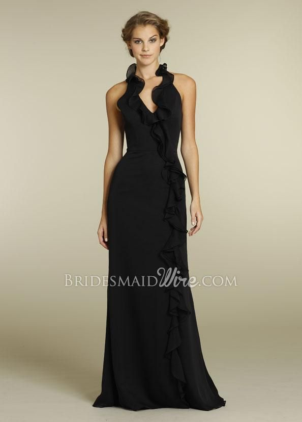 black chiffon ruffled halter neck floor length a-line bridesmaid ...