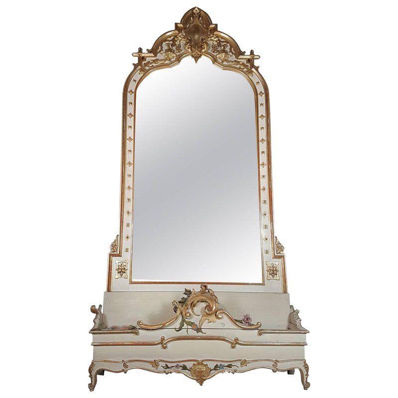 19th Century Italian Baroque Style Carved Lacquered Golden Wood Floor Mirror Italian Baroque Floor Mirror Modern
