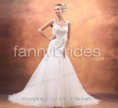 Glamorous Straps Tulle Mermaid Slimly 2013 Wedding Dress - Fannybrides.com