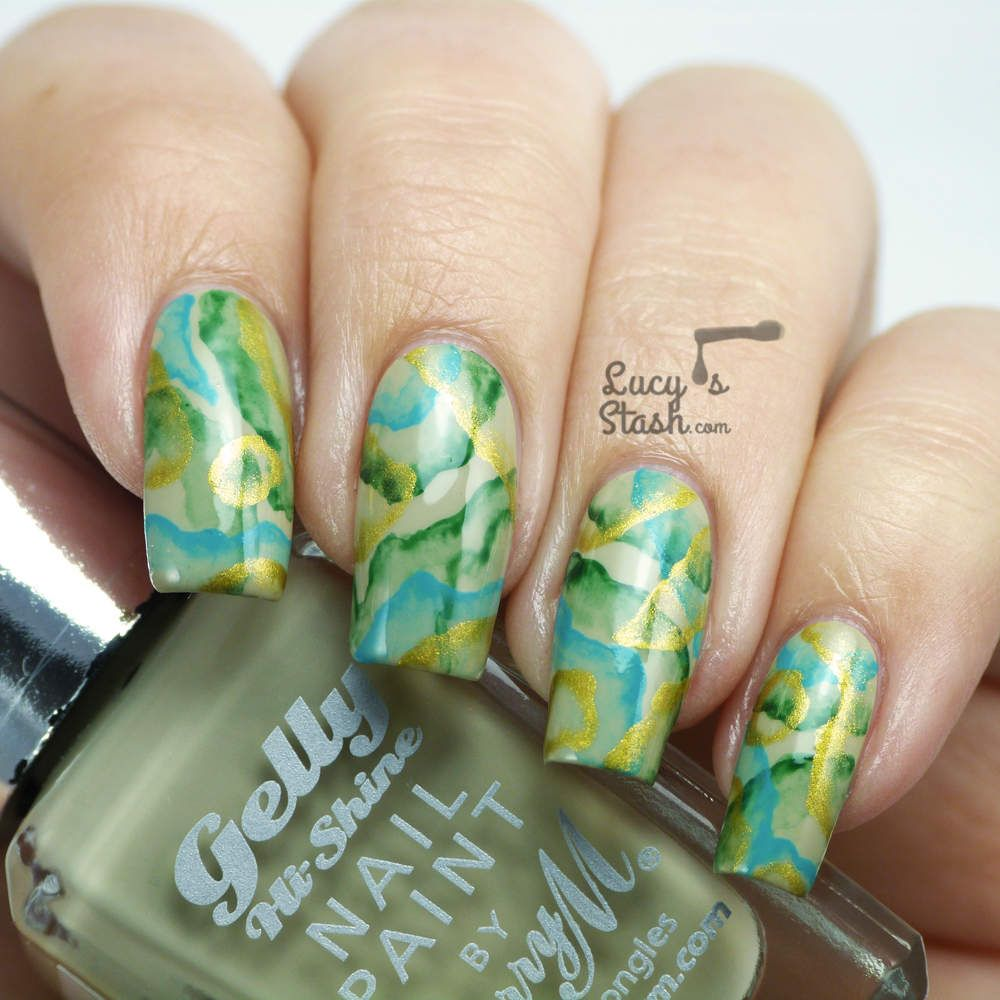 Precious Stone Abstract Nail Art feat. Barry M Olive | Creative ...
