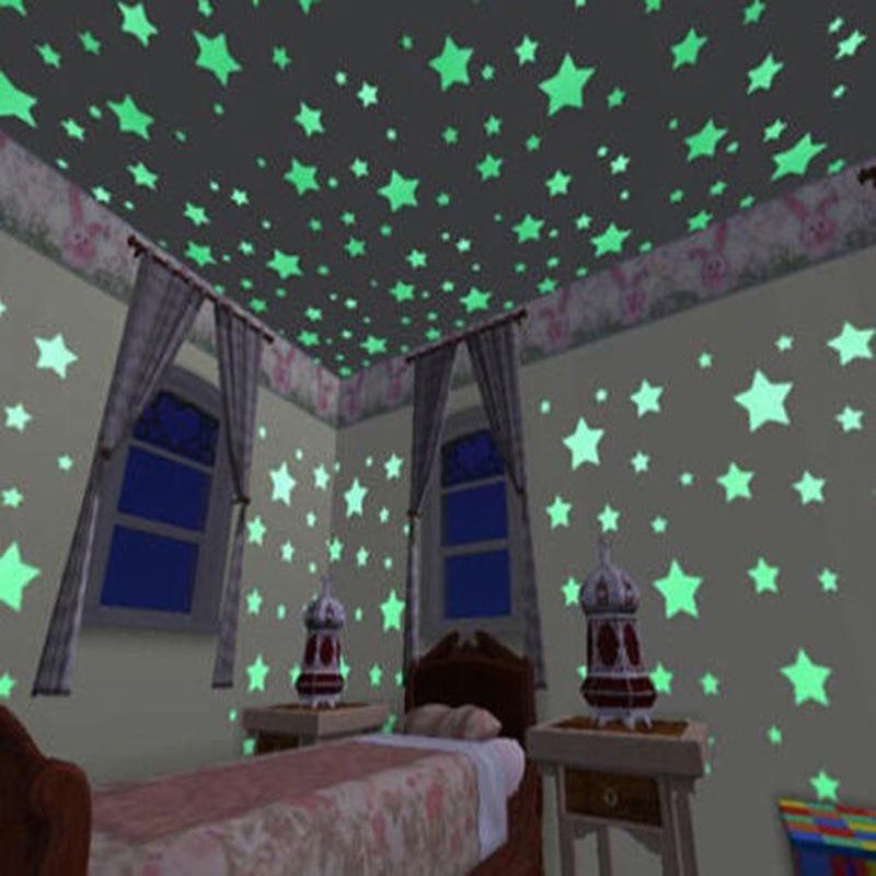 100 unids luminoso colorido hogar brillan en la oscuridad for Pegatinas para habitaciones