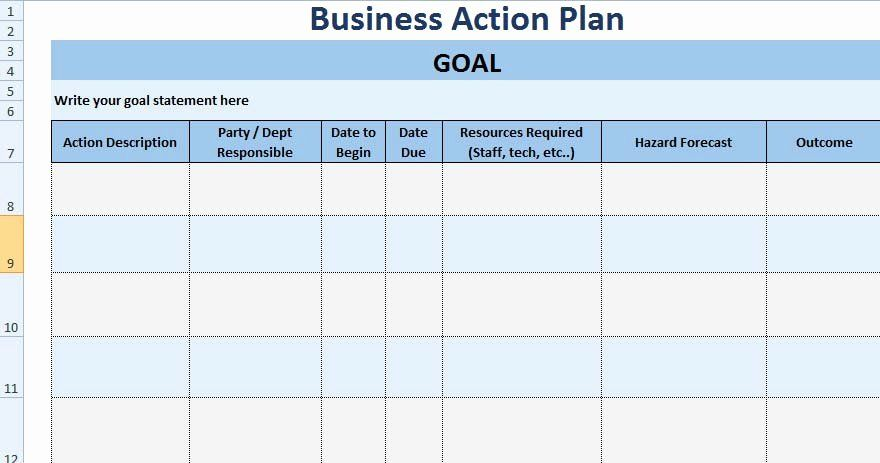 30 Action Plan Template Excel In 2020 Simple Business Plan