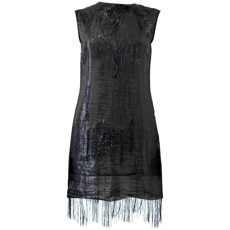 Maison Martin Margiela black, fringed, sheer, metallic 'flapper' dress  | From a collection of rare vintage evening dresses and gowns at https://www.1stdibs.com/fashion/clothing/evening-dresses/