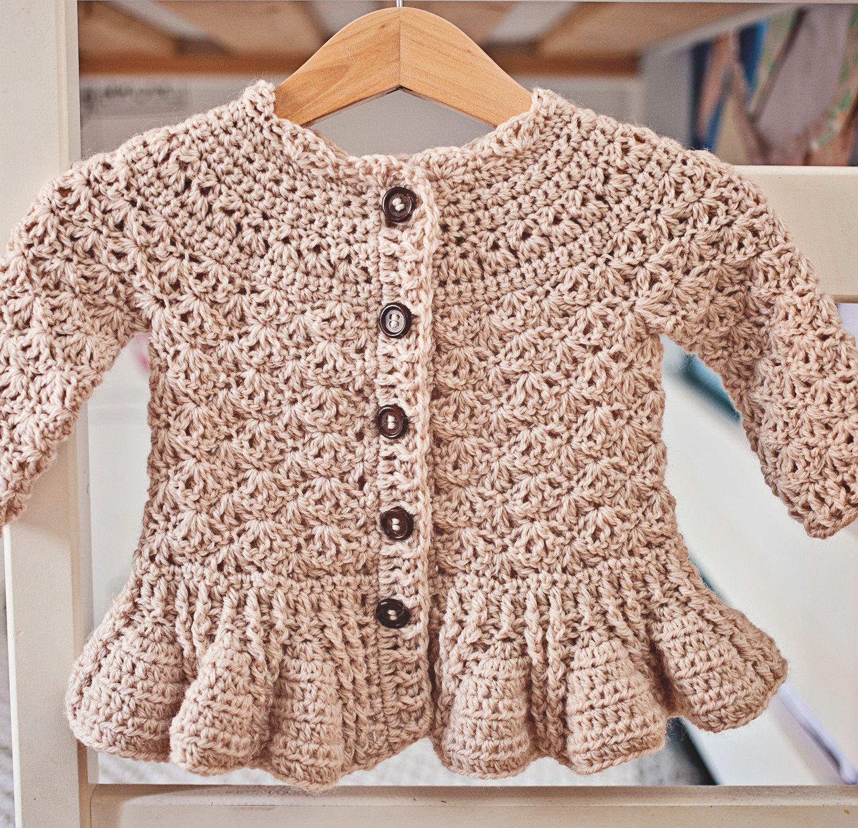 Crochet PATTERN - Soft Wool Peplum Cardigan (sizes baby up to 8 ...