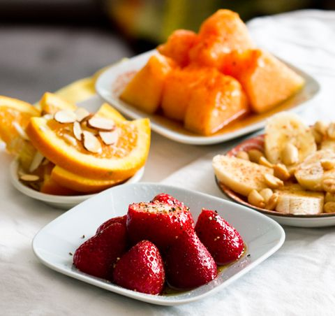 Fruit Tapas! Having a Summer Party? Make it healthy with fruit as the appetizers instead of fried finger foods! Use spices, nuts, and syrups to make them special.